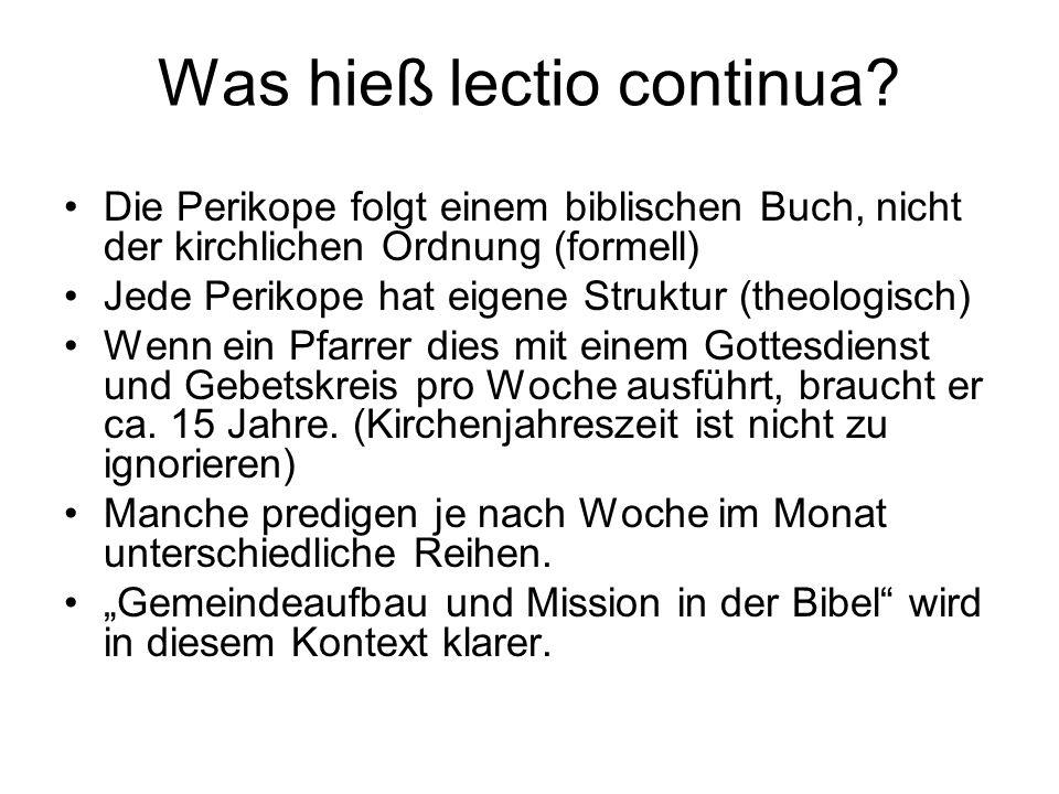 Was hieß lectio continua