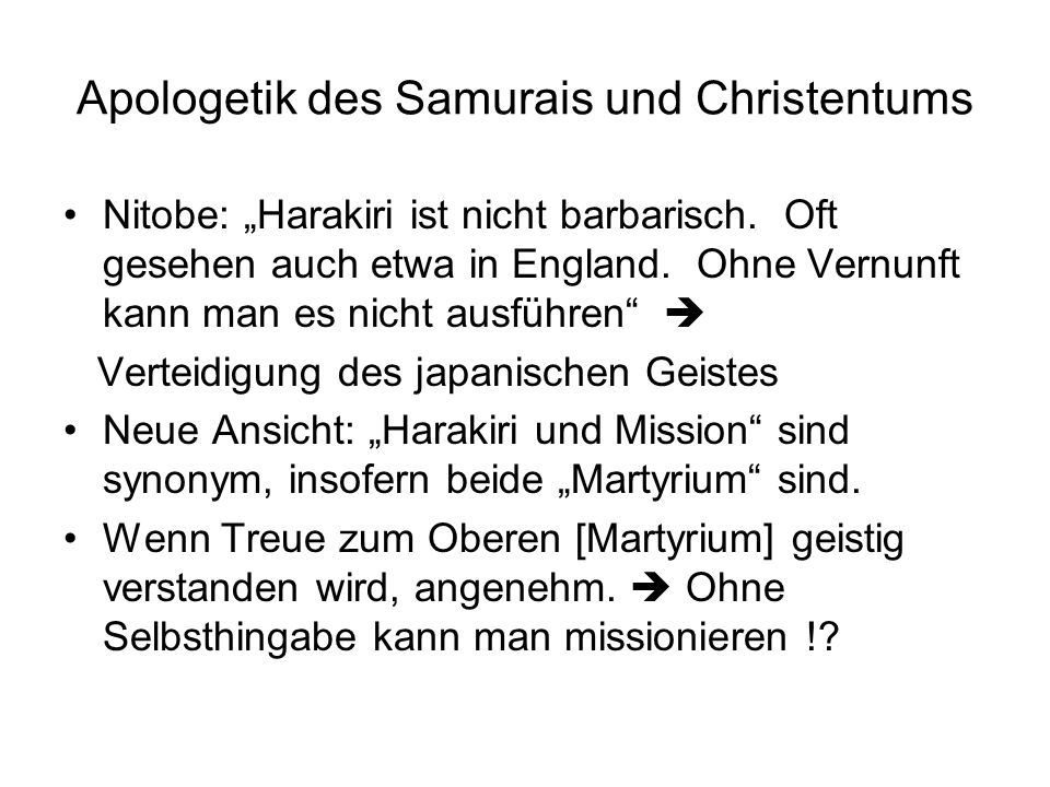 Apologetik des Samurais und Christentums