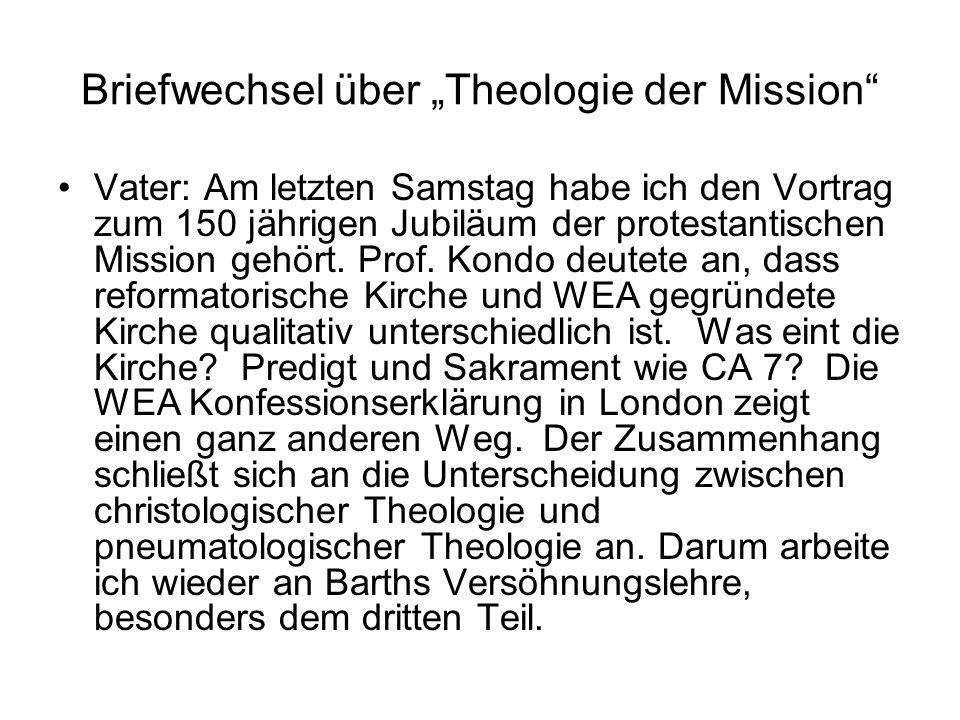 """Briefwechsel über """"Theologie der Mission"""