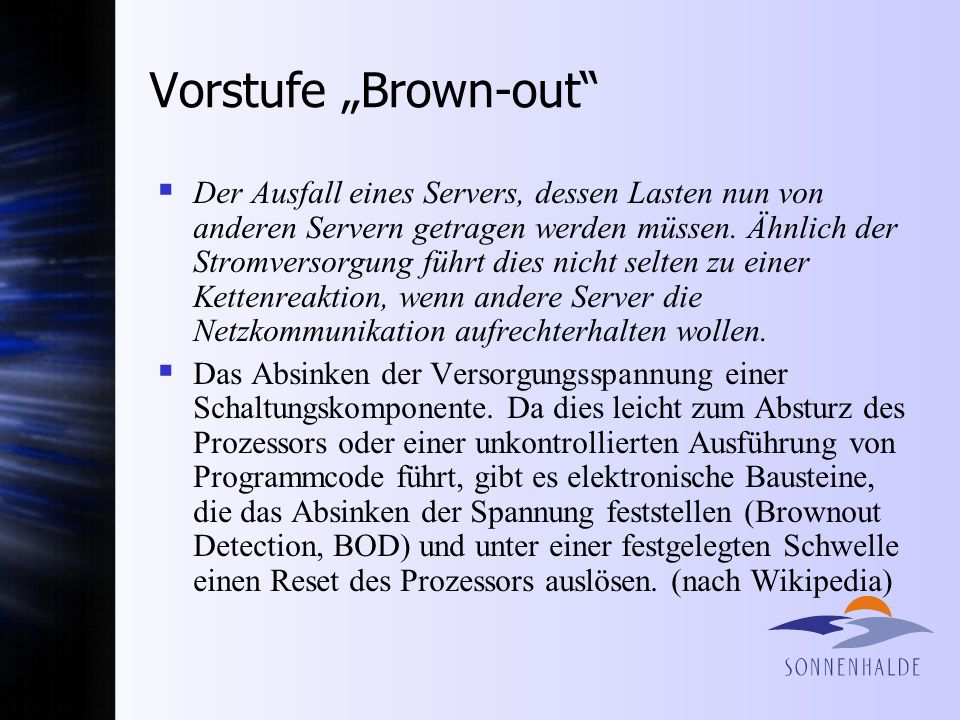 "Vorstufe ""Brown-out"
