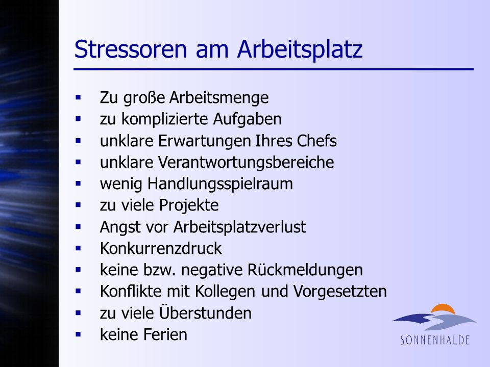 Stressoren am Arbeitsplatz