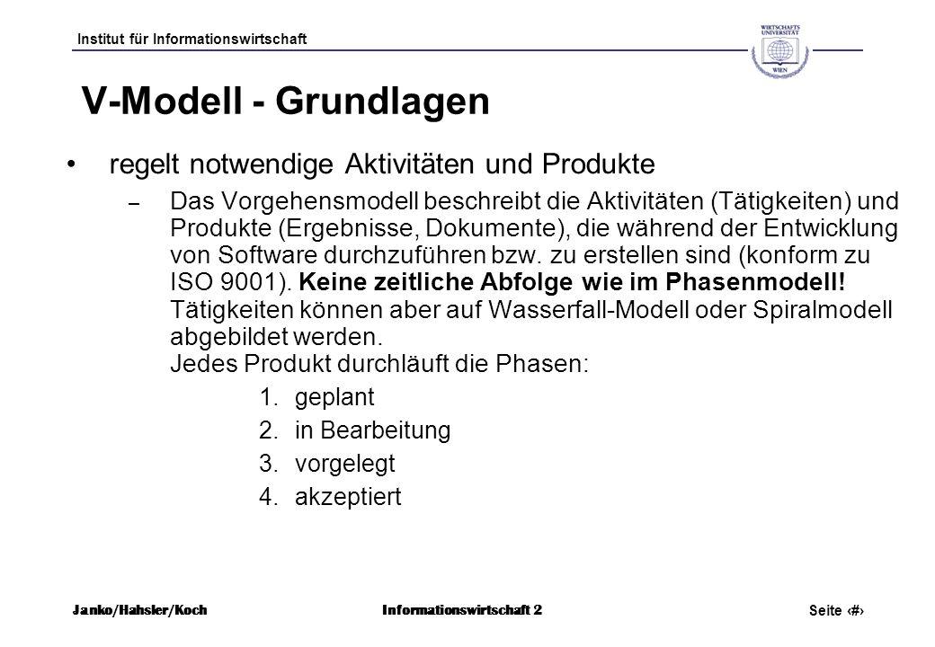 V-Modell - Grundlagen regelt notwendige Aktivitäten und Produkte