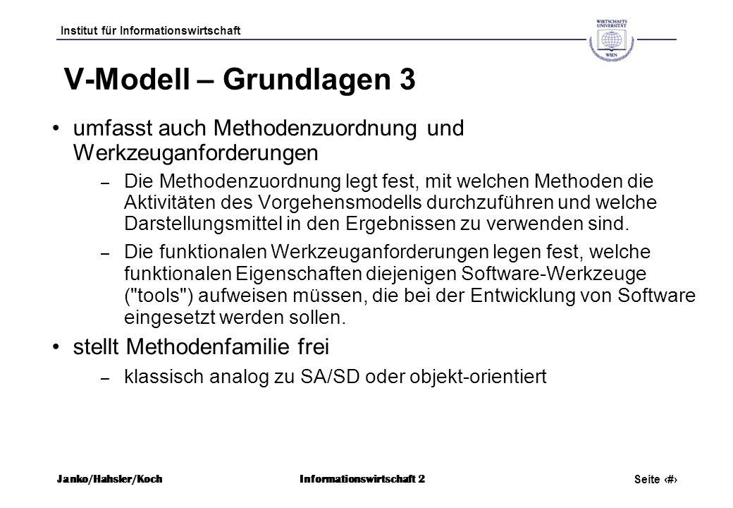 V-Modell – Grundlagen 3 umfasst auch Methodenzuordnung und Werkzeuganforderungen.