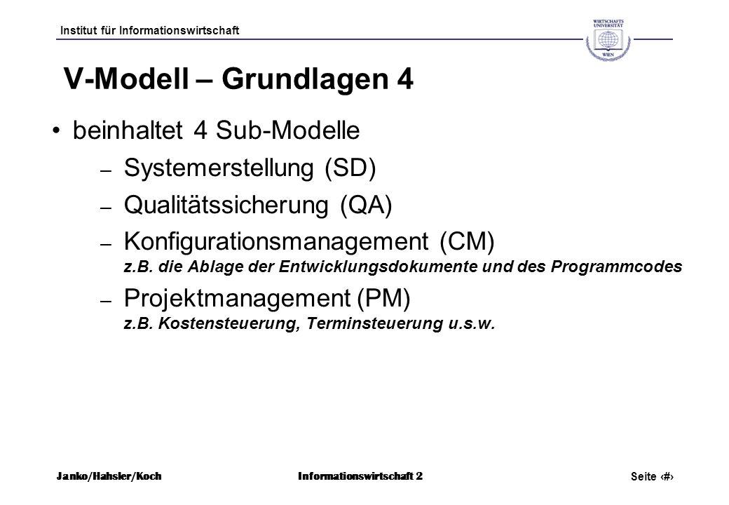 V-Modell – Grundlagen 4 beinhaltet 4 Sub-Modelle Systemerstellung (SD)