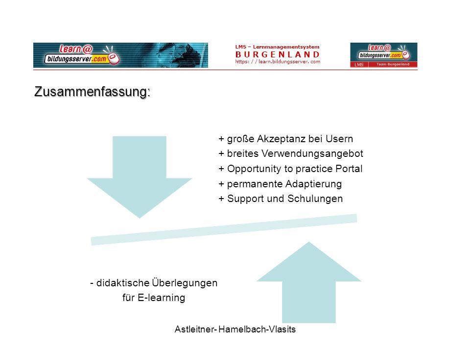 Zusammenfassung: Astleitner- Hamelbach-Vlasits