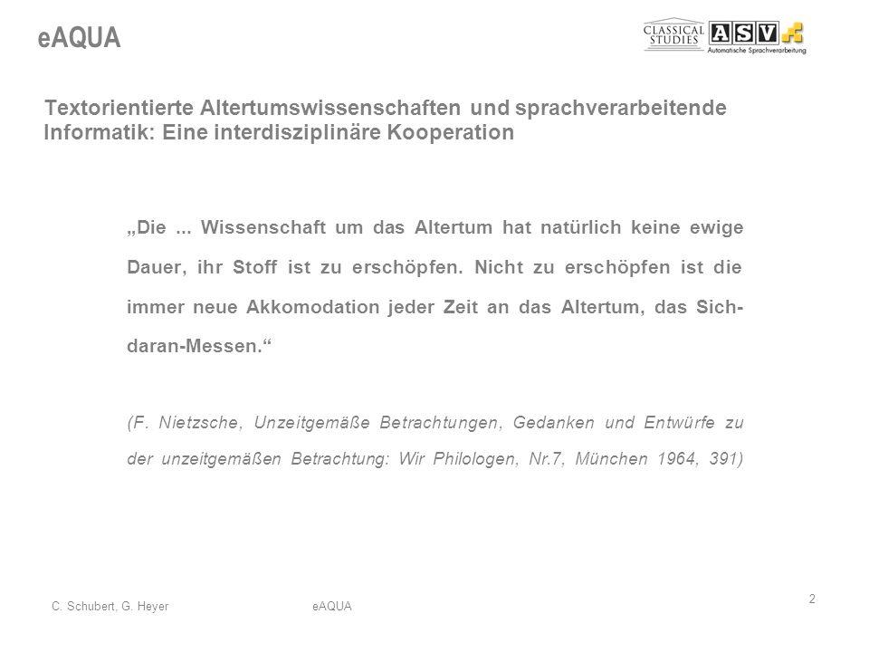 Textorientierte Altertumswissenschaften und sprachverarbeitende Informatik: Eine interdisziplinäre Kooperation