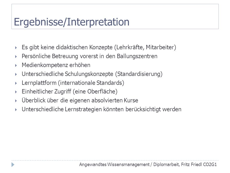 Ergebnisse/Interpretation