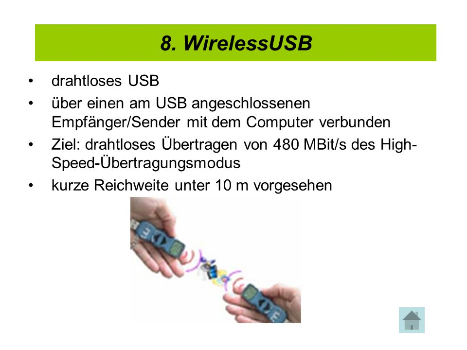 8. WirelessUSB 4. USB 2.0 drahtloses USB