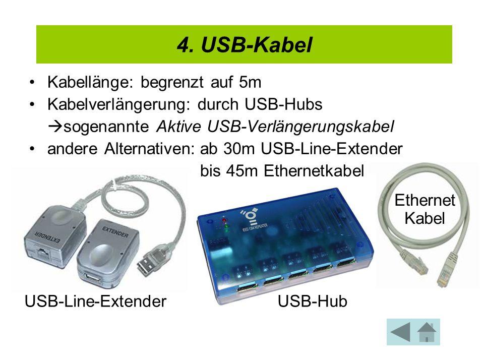4. USB-Kabel Kabellänge: begrenzt auf 5m