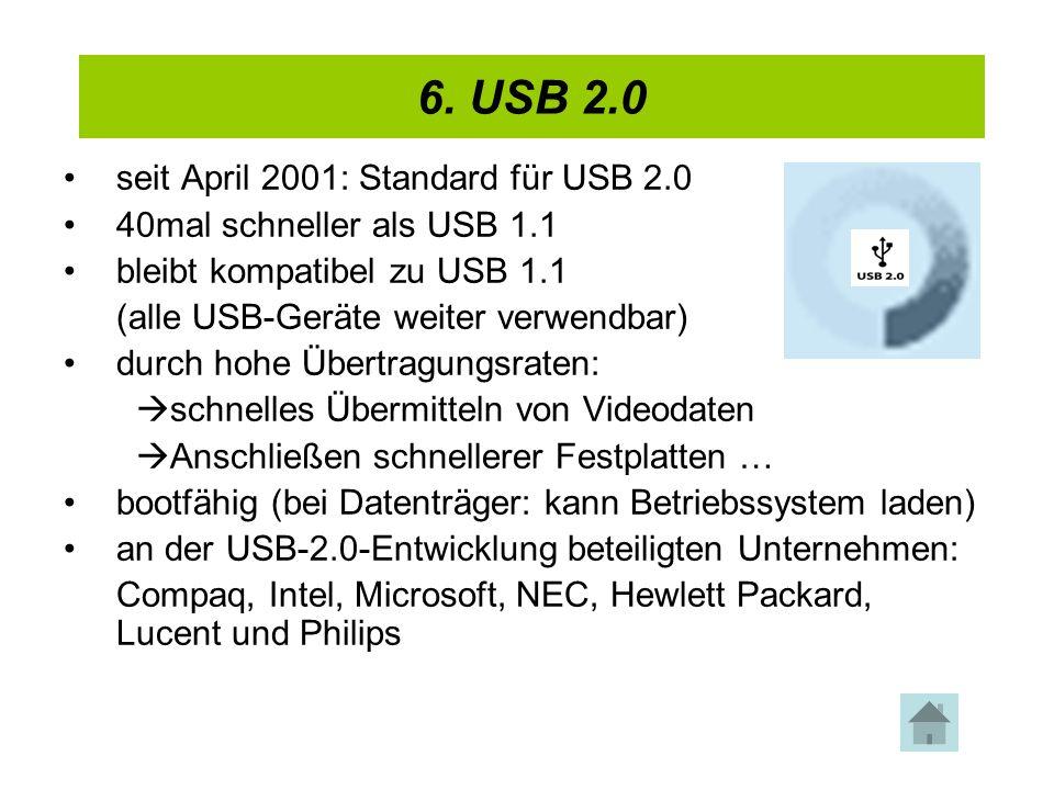 6. USB 2.0 4. USB 2.0 seit April 2001: Standard für USB 2.0