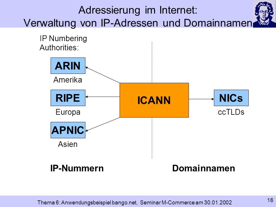 Adressierung im Internet: Verwaltung von IP-Adressen und Domainnamen
