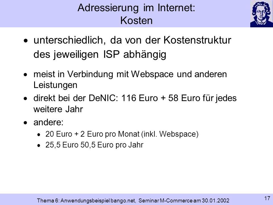 Adressierung im Internet: Kosten