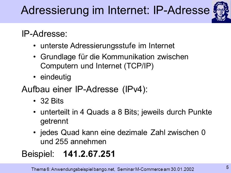 Adressierung im Internet: IP-Adresse