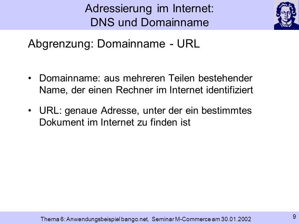 Adressierung im Internet: DNS und Domainname