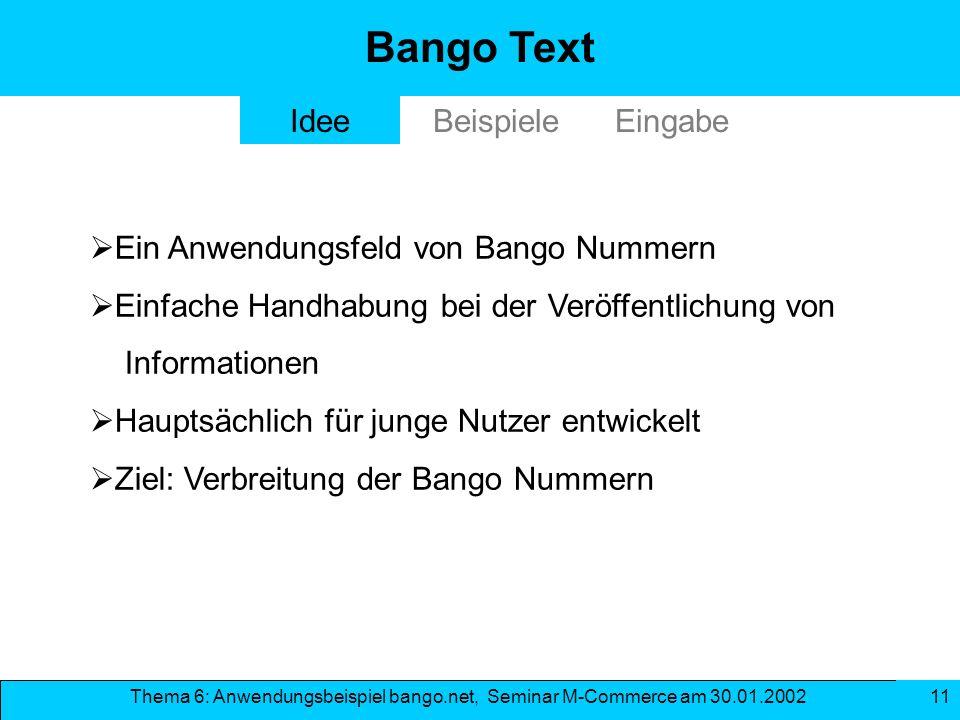 Bango Text Idee Beispiele Eingabe Ein Anwendungsfeld von Bango Nummern