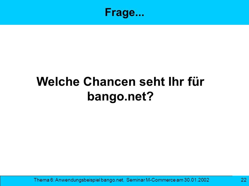 Welche Chancen seht Ihr für bango.net