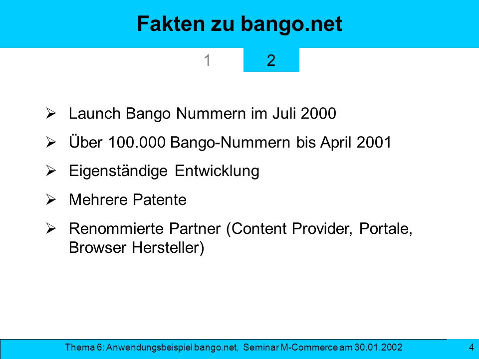 Fakten zu bango.net 1 2 Launch Bango Nummern im Juli 2000