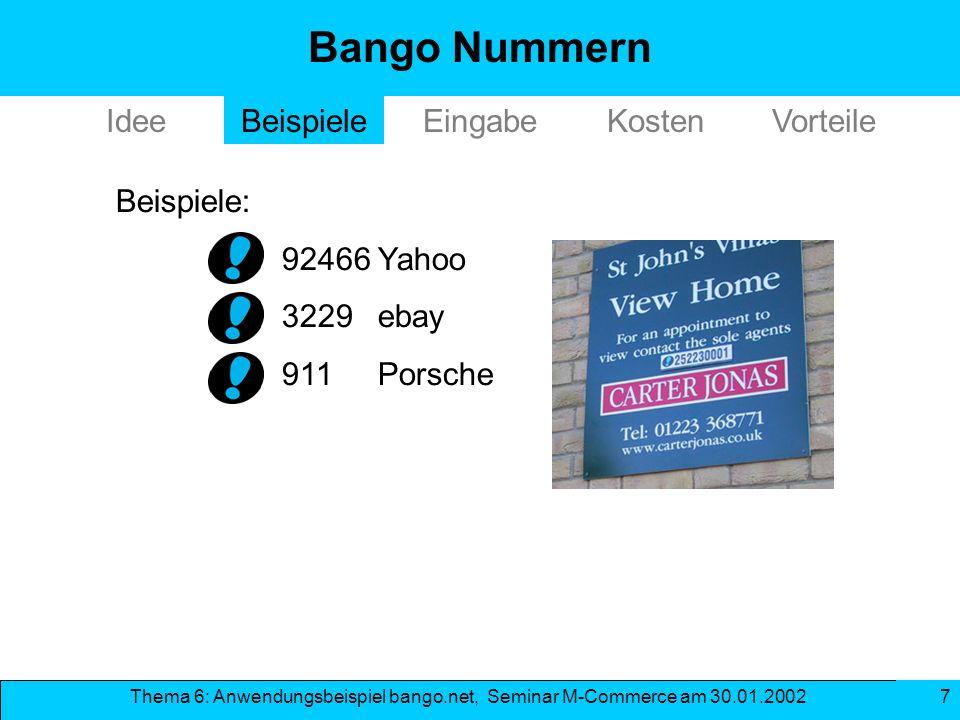 Bango Nummern Idee Beispiele Eingabe Kosten Vorteile Beispiele: