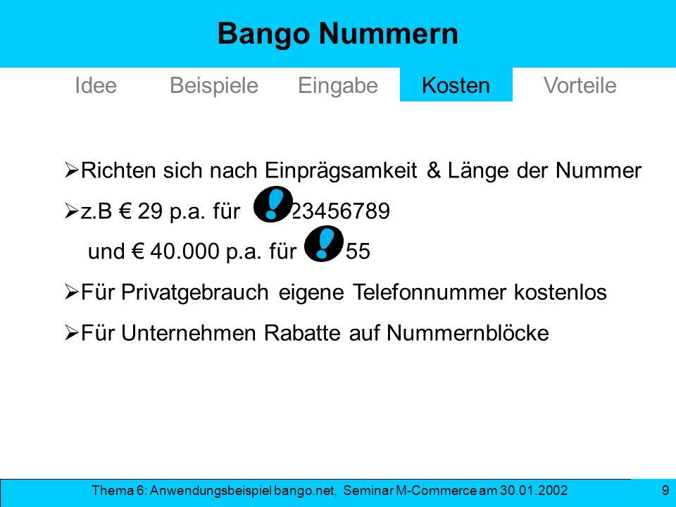 Bango Nummern Idee Beispiele Eingabe Kosten Vorteile