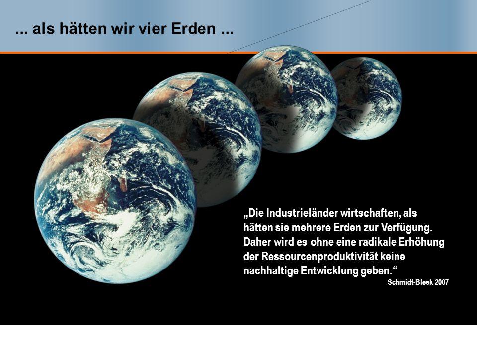 ... als hätten wir vier Erden ...