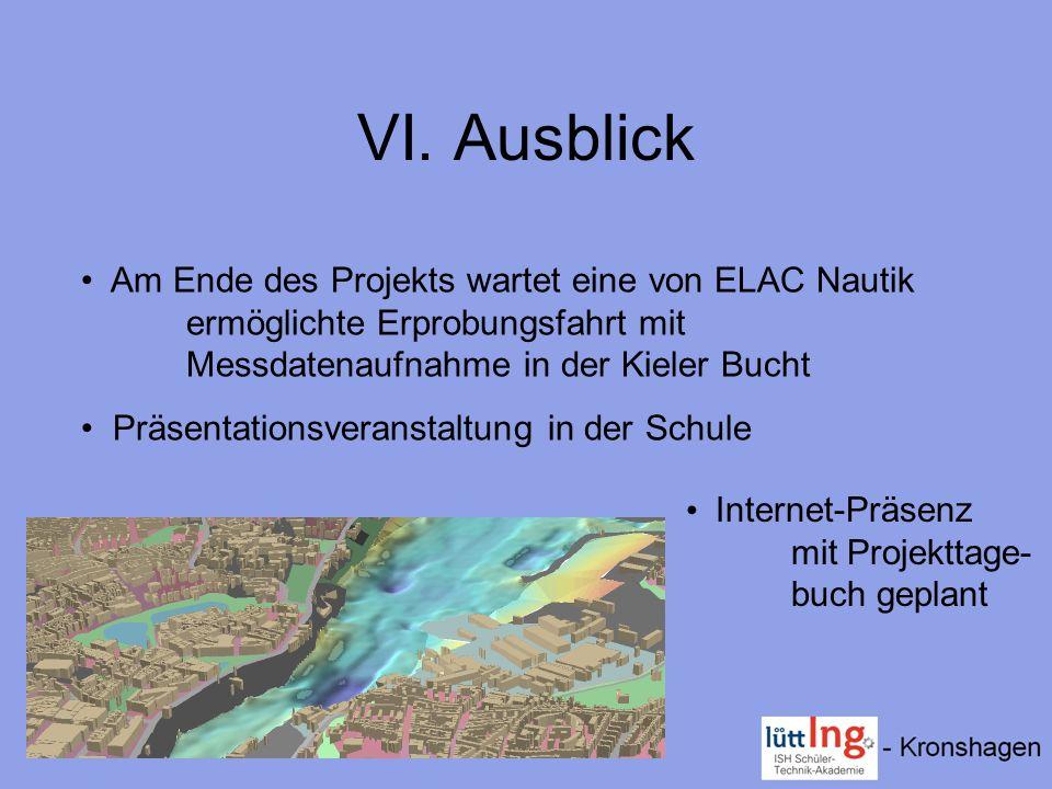 VI. Ausblick Am Ende des Projekts wartet eine von ELAC Nautik ermöglichte Erprobungsfahrt mit Messdatenaufnahme in der Kieler Bucht.