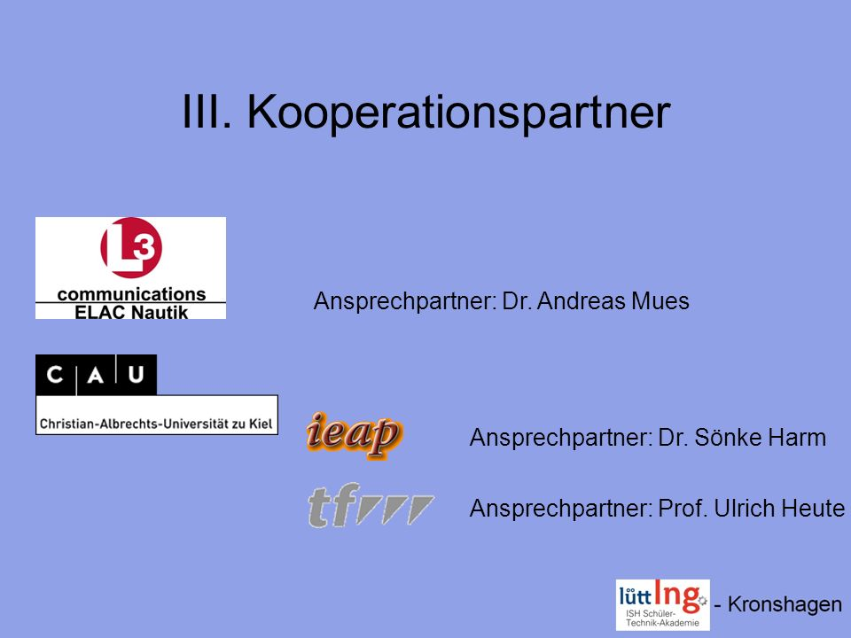 III. Kooperationspartner