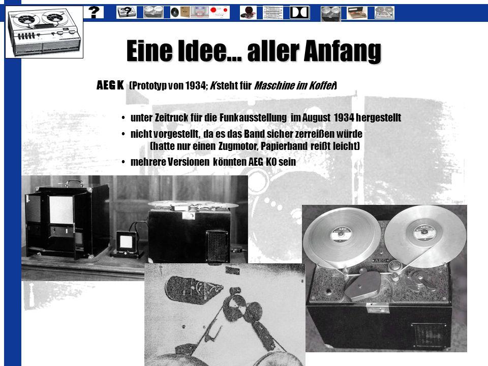 Eine Idee... aller Anfang AEG K (Prototyp von 1934; K steht für Maschine im Koffer)