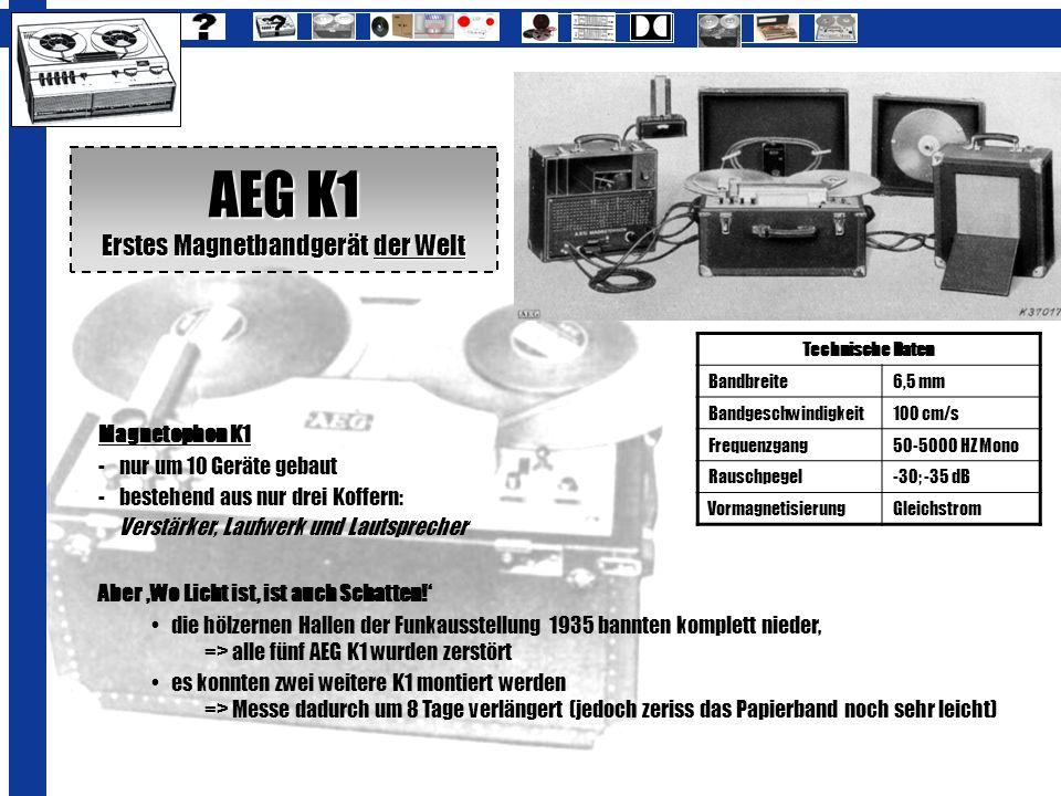 AEG K1 Erstes Magnetbandgerät der Welt