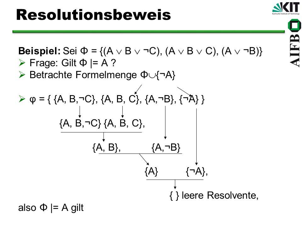 Resolutionsbeweis Beispiel: Sei Φ = {(A  B  ¬C), (A  B  C), (A  ¬B)} Frage: Gilt Φ |= A Betrachte Formelmenge Φ{¬A}