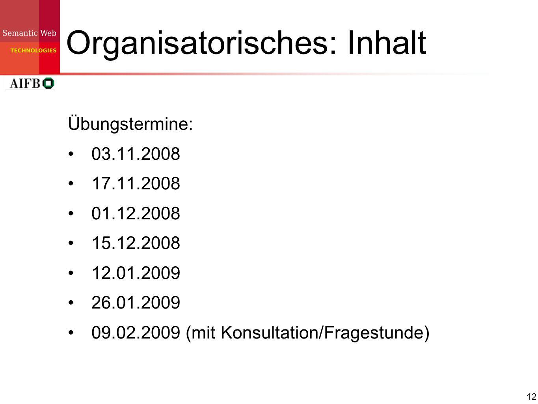 Organisatorisches: Inhalt