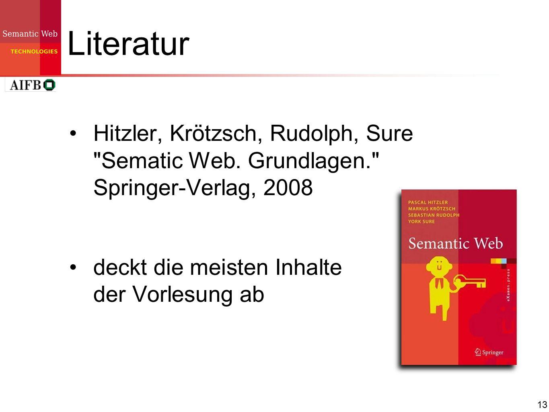 Literatur Hitzler, Krötzsch, Rudolph, Sure Sematic Web.