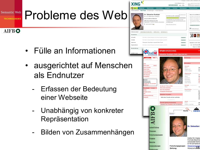 Probleme des Web Fülle an Informationen