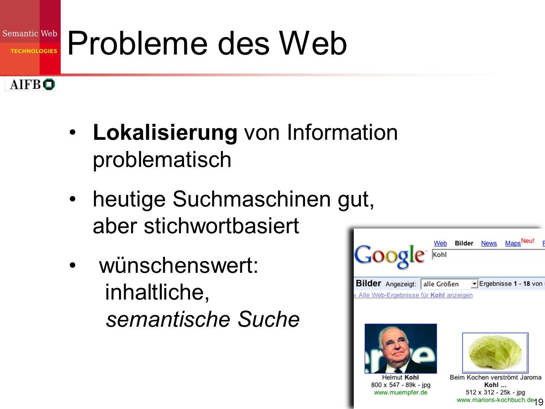Probleme des Web Lokalisierung von Information problematisch