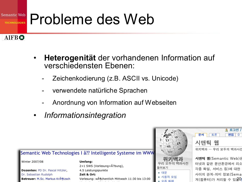 Probleme des Web Heterogenität der vorhandenen Information auf verschiedensten Ebenen: Zeichenkodierung (z.B. ASCII vs. Unicode)