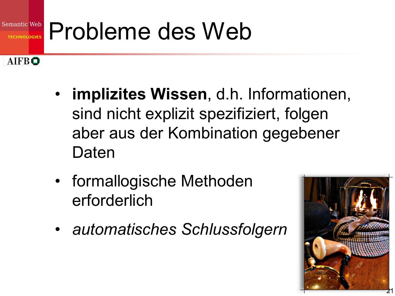 Probleme des Web implizites Wissen, d.h. Informationen, sind nicht explizit spezifiziert, folgen aber aus der Kombination gegebener Daten.