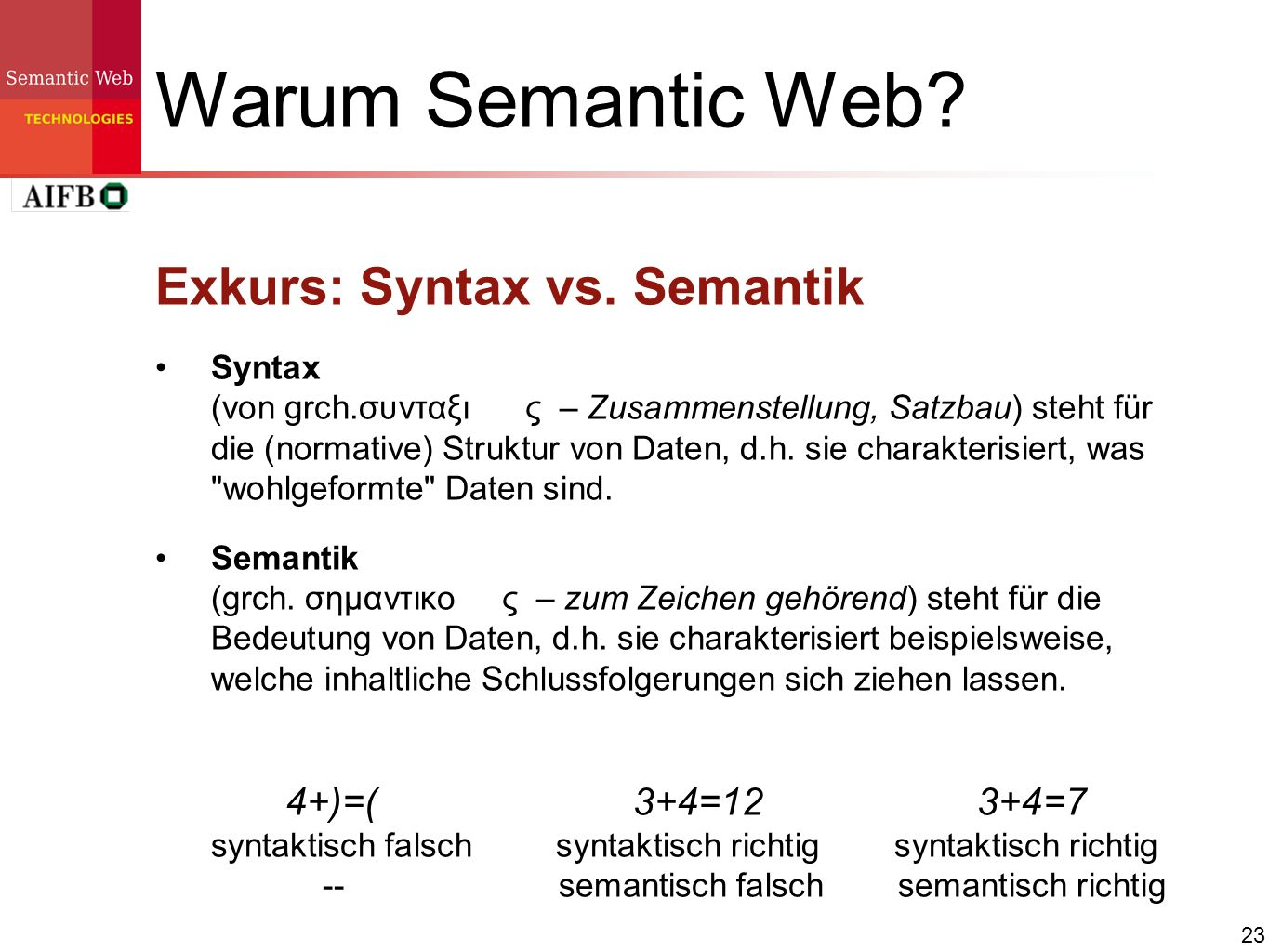 Warum Semantic Web Exkurs: Syntax vs. Semantik
