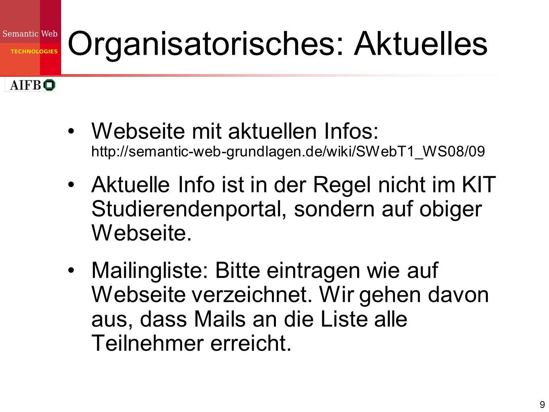 Organisatorisches: Aktuelles