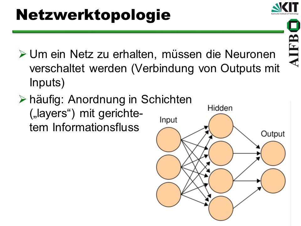Netzwerktopologie Um ein Netz zu erhalten, müssen die Neuronen verschaltet werden (Verbindung von Outputs mit Inputs)