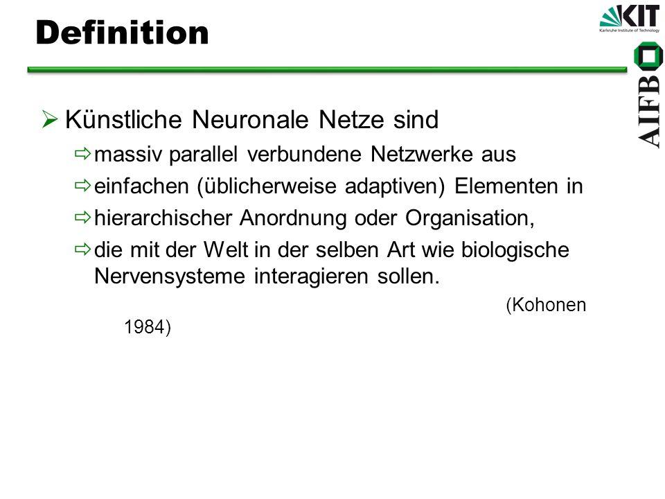 Definition Künstliche Neuronale Netze sind