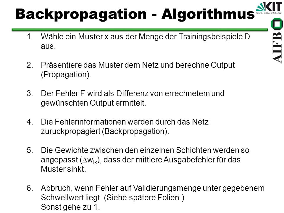 Backpropagation - Algorithmus