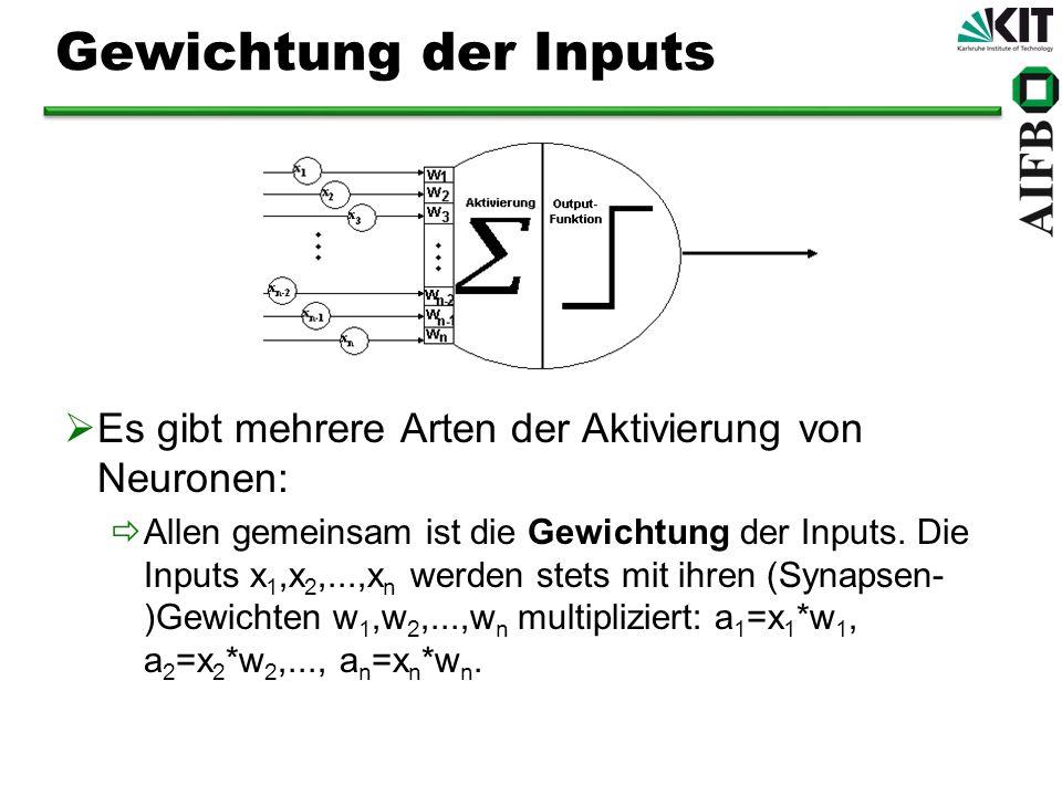 Gewichtung der Inputs Es gibt mehrere Arten der Aktivierung von Neuronen: