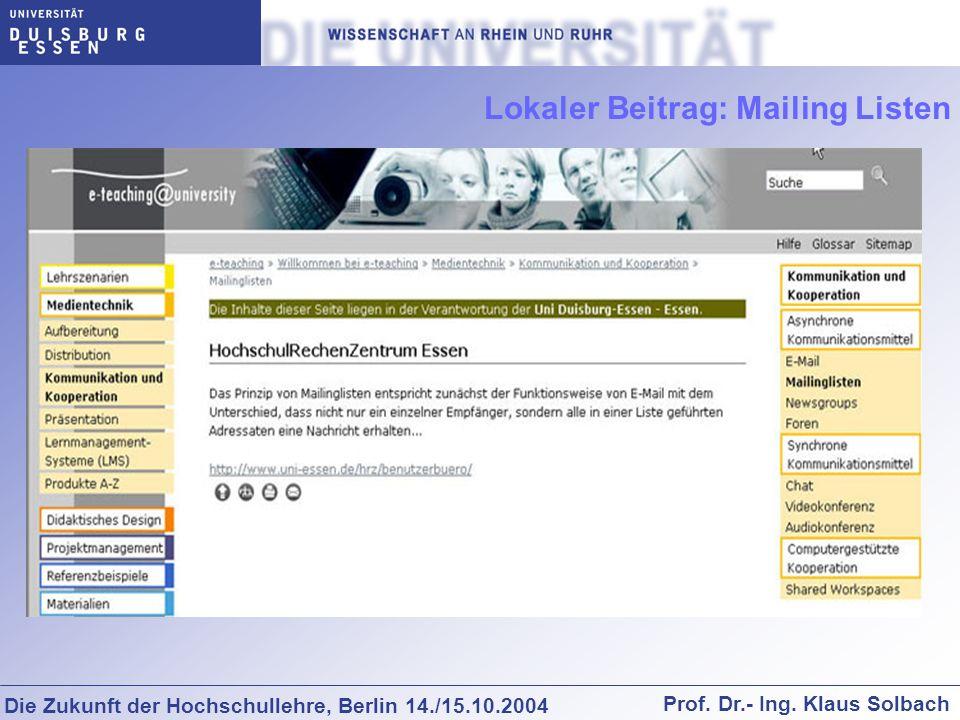 Lokaler Beitrag: Mailing Listen
