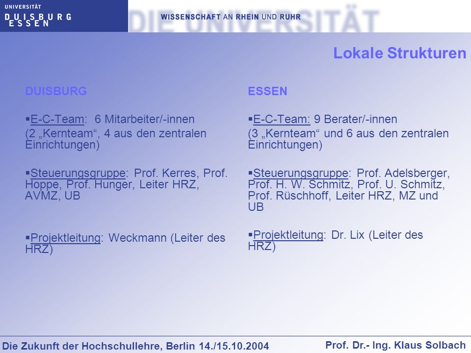 Lokale Strukturen DUISBURG E-C-Team: 6 Mitarbeiter/-innen