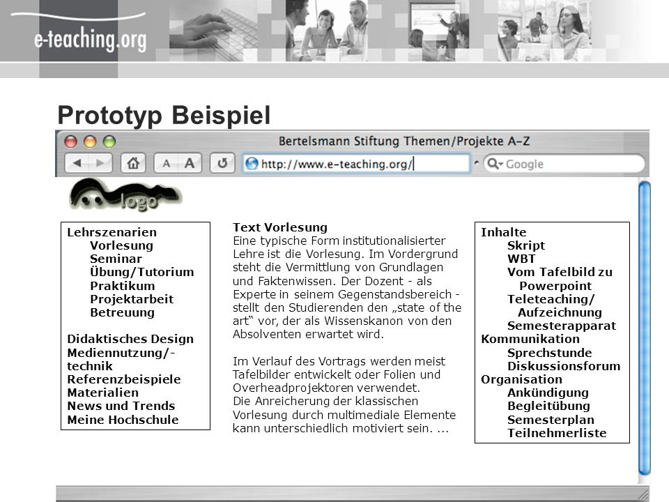 Prototyp Beispiel Lehrszenarien Vorlesung Seminar Übung/Tutorium
