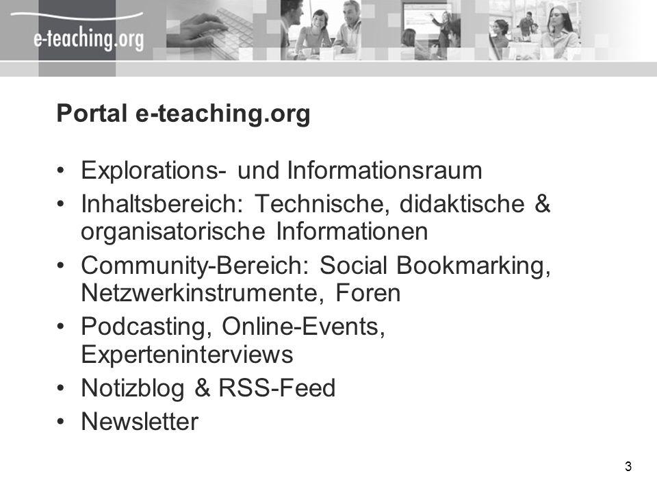 Portal e-teaching.orgExplorations- und Informationsraum. Inhaltsbereich: Technische, didaktische & organisatorische Informationen.