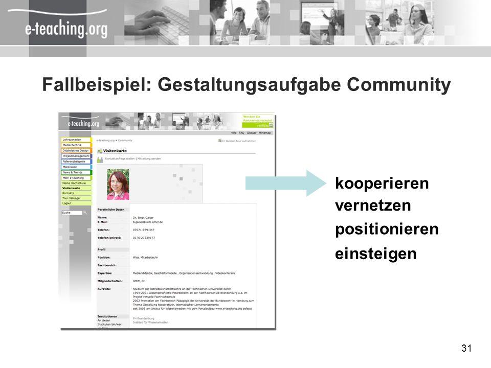 Fallbeispiel: Gestaltungsaufgabe Community