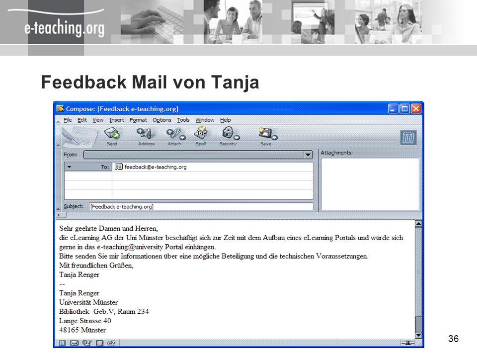 Feedback Mail von Tanja