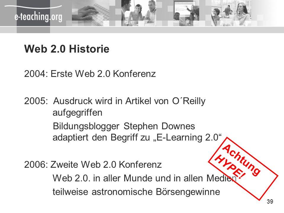 Web 2.0 Historie Achtung HYPE! 2004: Erste Web 2.0 Konferenz