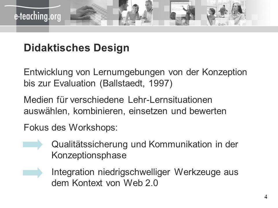 Didaktisches DesignEntwicklung von Lernumgebungen von der Konzeption bis zur Evaluation (Ballstaedt, 1997)