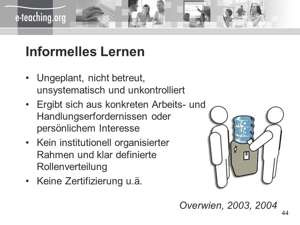 Informelles Lernen Ungeplant, nicht betreut, unsystematisch und unkontrolliert.